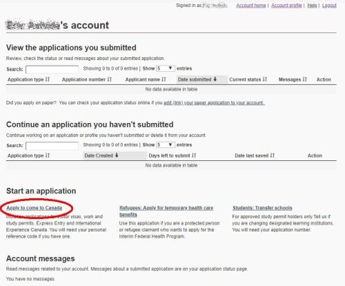 学生ビザ申請トップ画面